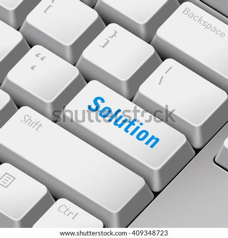 message on keyboard enter key for solution concepts - stock vector
