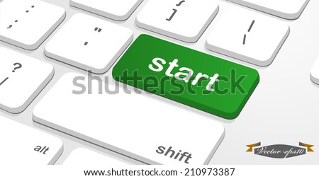 """message on keyboard enter key that is """"start"""" - stock vector"""