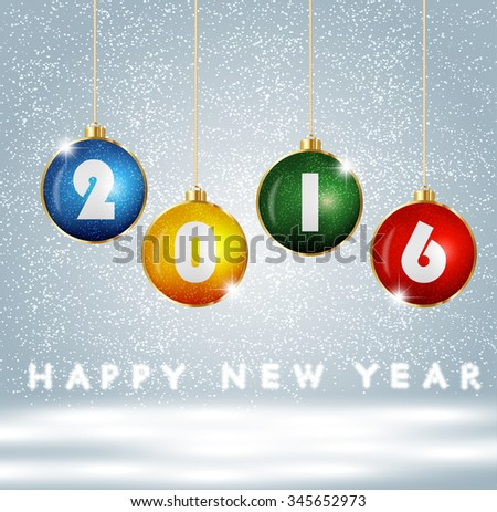message text happy new year 2016. Creative stylish design. Vibrant white numbers. Winter (December, january). Decorations glamour party. Blur soft effect glare. Glow starry sky in dusk. Calendar.  - stock vector