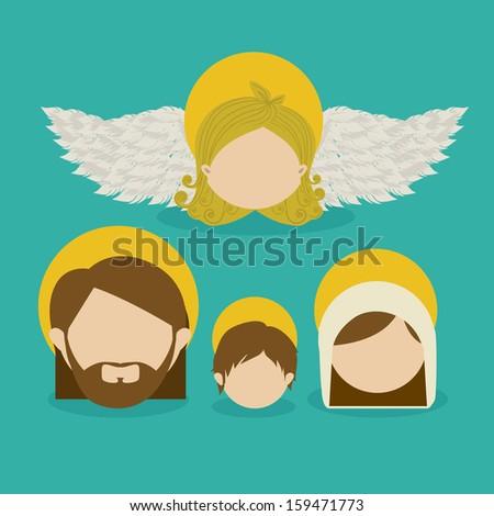 messenger angel over blue background vector illustration - stock vector