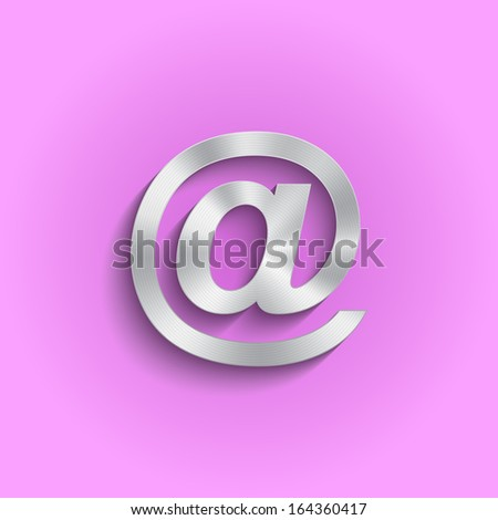 Metal arroba email icon. Vector design - stock vector