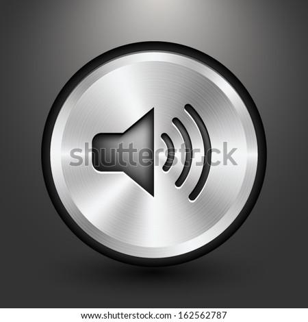 Metal audio button icon design, Vector image on grey background. - stock vector