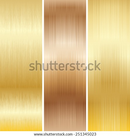 Metal Background, Copper and Gold. Set. Vector. - stock vector