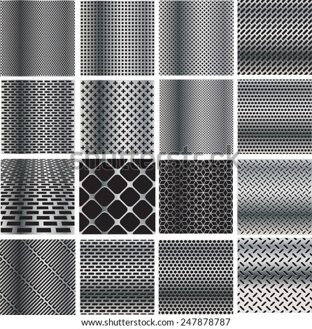 Metal Background Set . Metal Plates . Abstract Metal Template Collection . Silver Metal Grids . Metal Speaker Set . Metal Textures . Vector Illustration.  - stock vector