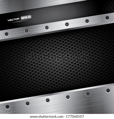Metal background - vector illustration with steel frame and carbon pattern - stock vector