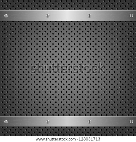 Metal Background With Aluminum Plate With Gradient Mesh, Vector Illustration - stock vector