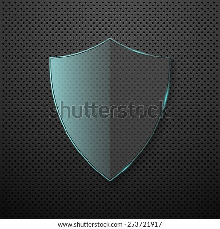 Metal background with glass shield. Vector - stock vector