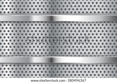 Metal background with perforation and chrome frame. Vector illustration - stock vector