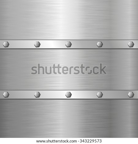 metal background with screws - stock vector
