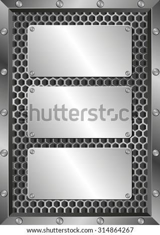 metal background with three plaques - stock vector