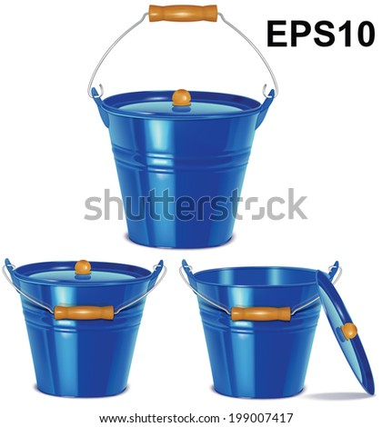 Metal blue buckets isolated on white. Vector illustration - stock vector
