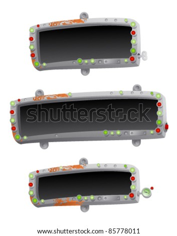 Metal boards hanging on a nails. - stock vector