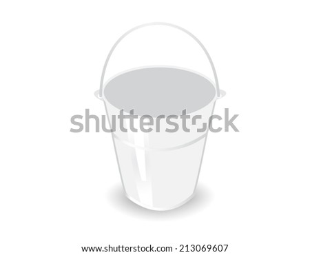 metal bucket on white background - stock vector