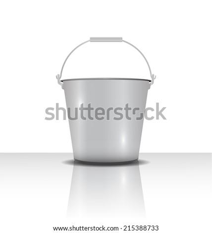 metal bucket with handle  vector illustration - stock vector