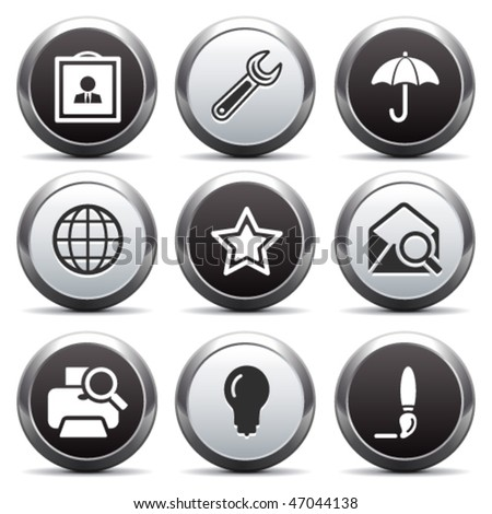 Metal button with icon 9 - stock vector