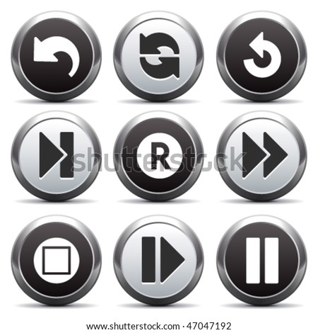 Metal button with icon 29 - stock vector