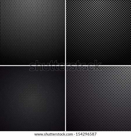 Metal-carbon textures - stock vector