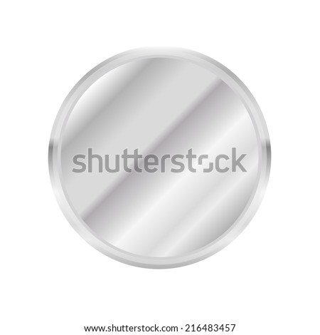 Metal circle Button or plate on white background. Vector illustration. - stock vector