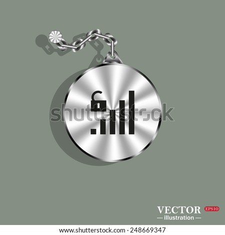 Metal circle with a chain on a green background. Shadow. signal strength indicator, open access , vector illustration, EPS 10 - stock vector