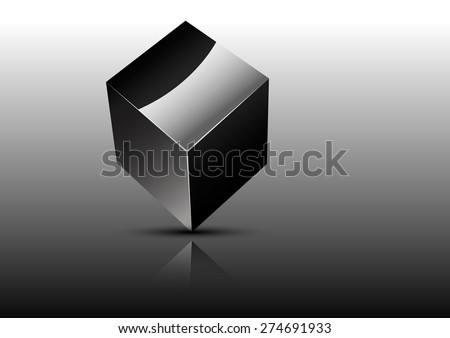 metal cube on a gray background with shadow and reflection - stock vector