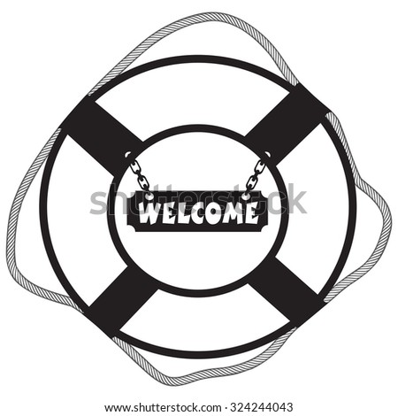 Metal decorative symbol life buoy with a sign Welcome. Vector illustration. - stock vector