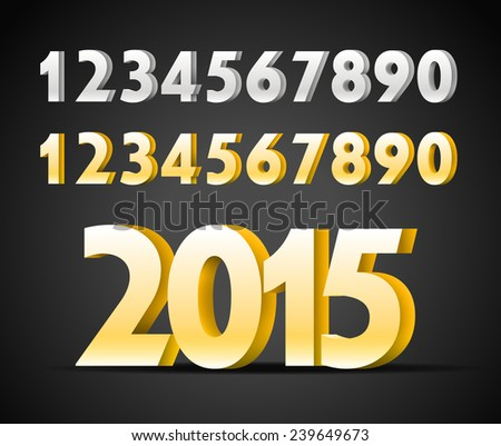 Metal digits collection. Happy new 2015 year - stock vector