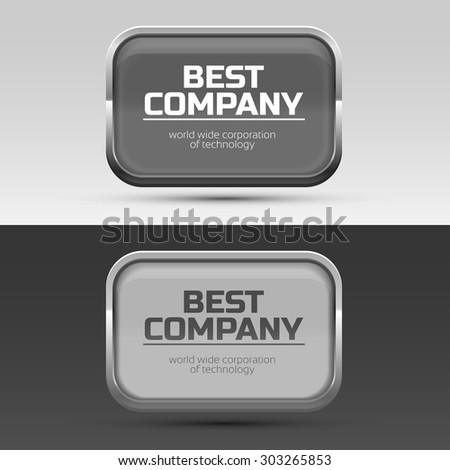 Metal frame for brand or company name.  - stock vector