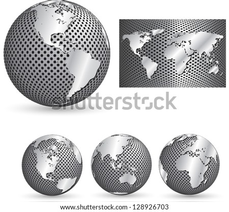Metal globes - stock vector