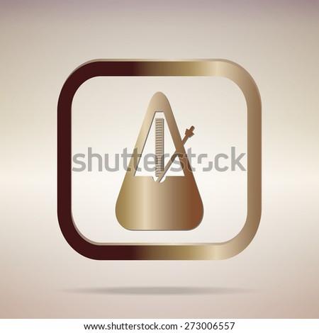 metal golden musical metronome icon element design.Vector EPS 10 - stock vector