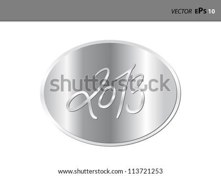 Metal label 2013 - stock vector