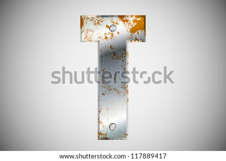 Metal letters of the alphabet  T - stock vector