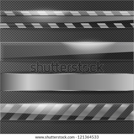 Metal line ribbon on grid surface - stock vector