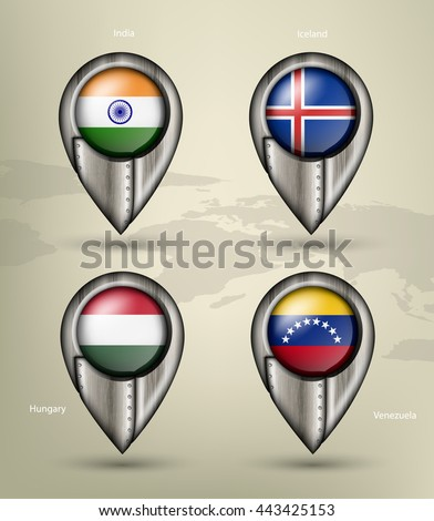metal map marker steel country with glare and shadows - stock vector