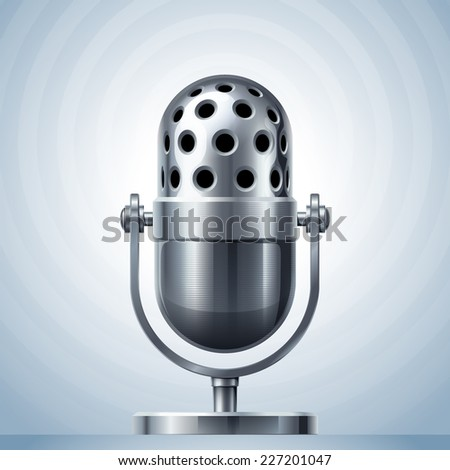 Metal microphone. Eps10. Transparency used. RGB. Global colors. Gradients used - stock vector