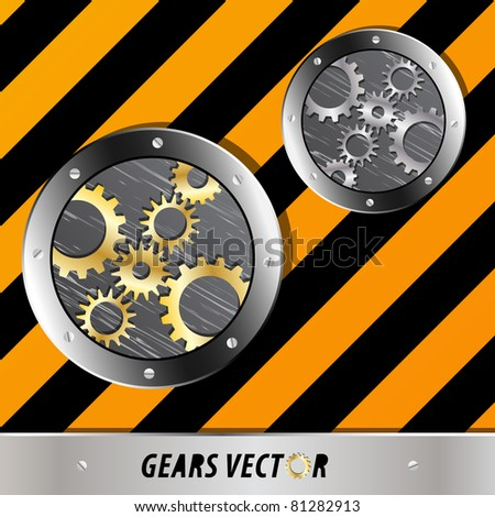 Metal plate and gears vector on grunge - stock vector