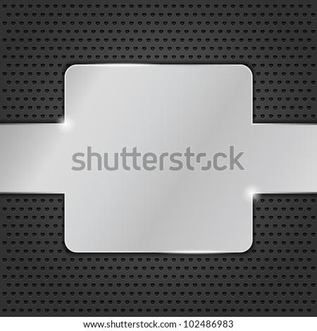 Metal plate on black background, vector eps10 illustration - stock vector