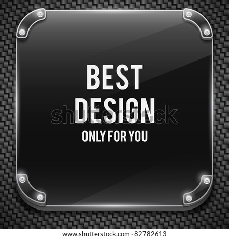 Metal plate on carbon background (vector illustration) - stock vector