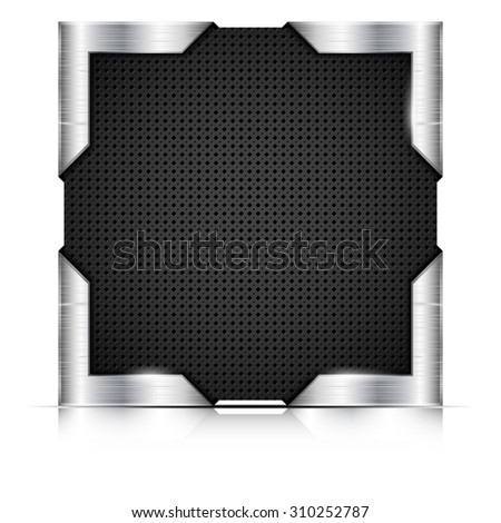 Metal plate with steel corners on white background - place for your text. Vector illustration. - stock vector