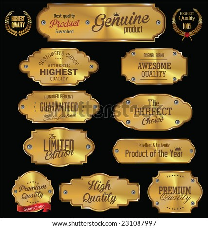 Metal plates premium quality golden collection - stock vector