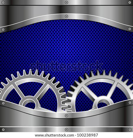 Metal plates, screws, gears. Blue metallic honeycomb. - stock vector