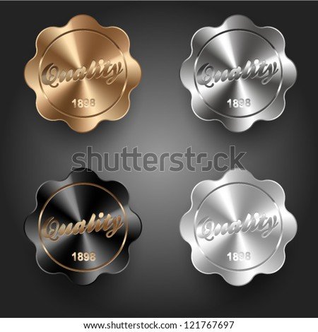 Metal retro labels set - stock vector