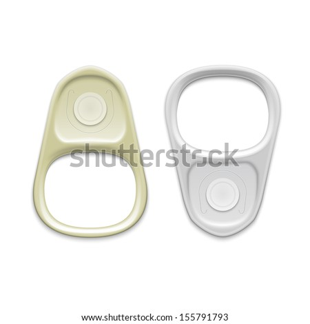 Metal ring pull isolated on white background. Packaging collection. Vector illustration. - stock vector