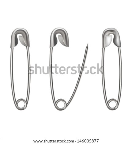 Metal safety pin on white background. Vector illustration - stock vector