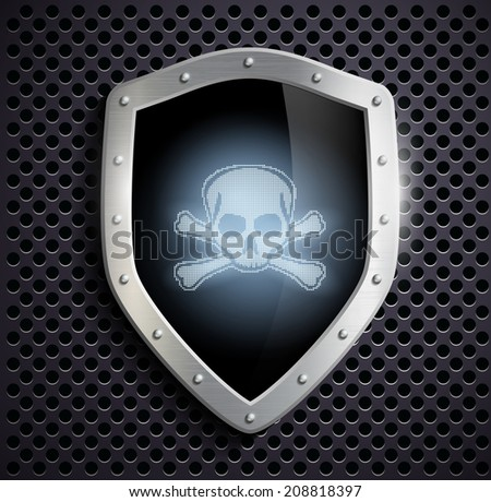 metal shield with a skull and crossbones - stock vector