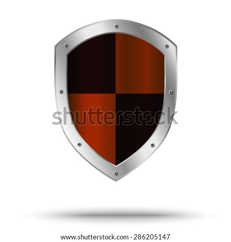 Metal shield with hazard symbol in the center. Protection symbol. - stock vector