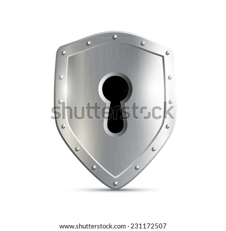 metal shield with keyhole isolated on white background - stock vector