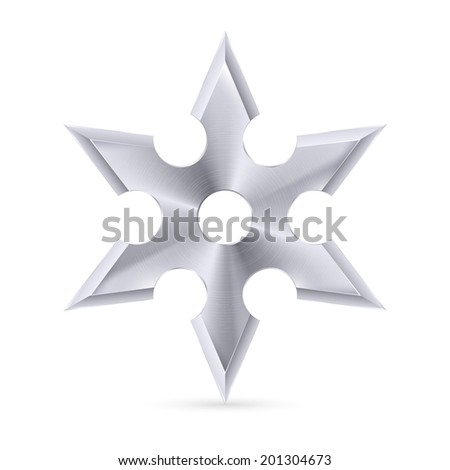 Metal shuriken with six tips on the white background - stock vector