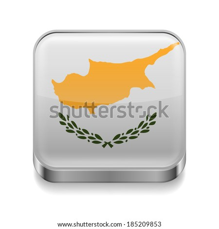 Metal square icon with Cypriot flag colors - stock vector