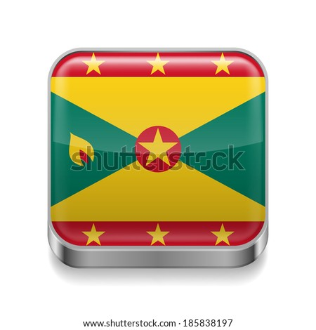 Metal square icon with flag colors of Grenada - stock vector