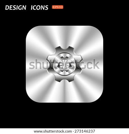 metal square with rounded corners button on a black background. Cog Settings . icon. vector design - stock vector